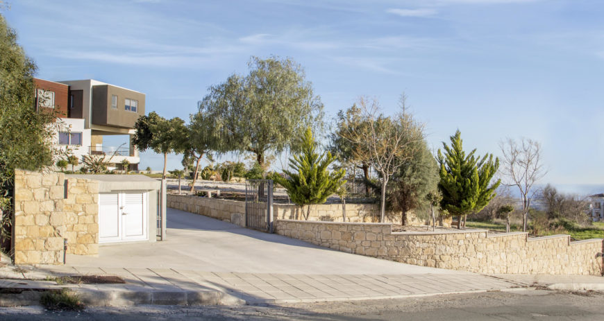 Approaching the property, a stone wall and terraced tree garden conceals the home itself, lending further privacy to the occupants. The Mediterranean shimmers in the distance.