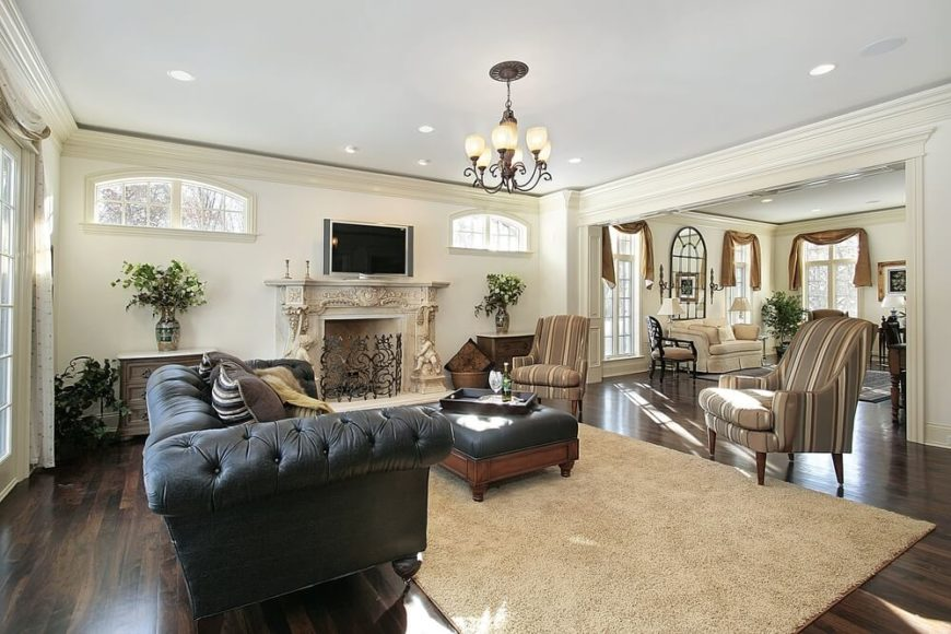 21 Riveting Living Rooms With Dark Wood Floors Pictures