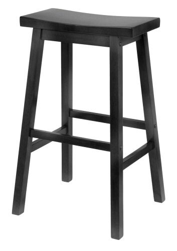 The bench stool design has become increasingly popular in recent years, for good reason. It can be oriented in any way, and is easy to get onto and off of. The curved wood seat and dark stain make for an elegant bar seating solution.
