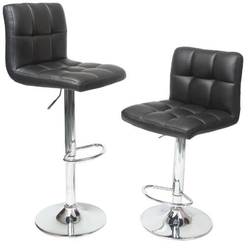 These bar stools feature chromed construction and curved, button tufted dark leather seating. Elegant and contemporary, the leather grain helps them blend well with any styled room.