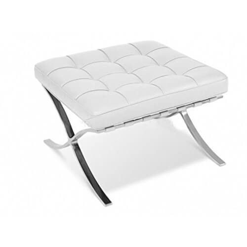 If you're looking for a more modern, elegant ottoman solution, keep an eye on models like this. With a curved metal X-frame and restrained white leather, button tufted cushion, this ottoman brings style in abundance to any man cave.