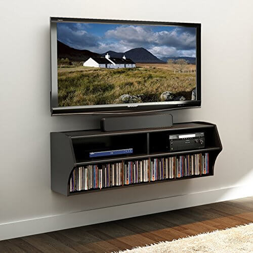 An interesting twist on entertainment center design, this model is mounted flush with the wall, eliminating footprint entirely. This allows the television and related equipment to be mounted virtually anywhere in your man cave, saving space.