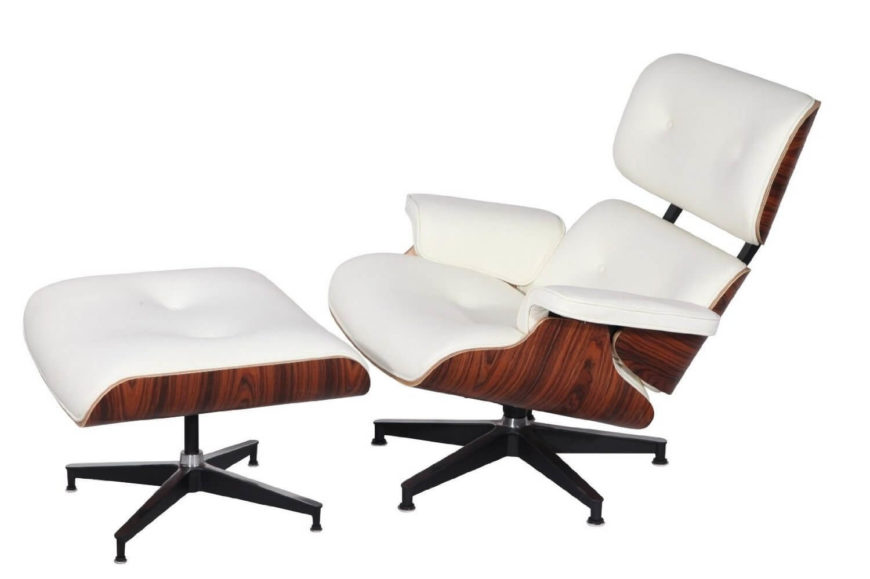 This chair fills out the classic Eames shape, with curved wood supporting plush leather cushioning. With a matching ottoman, this slim framed chair offers ultimate comfort and relaxation.