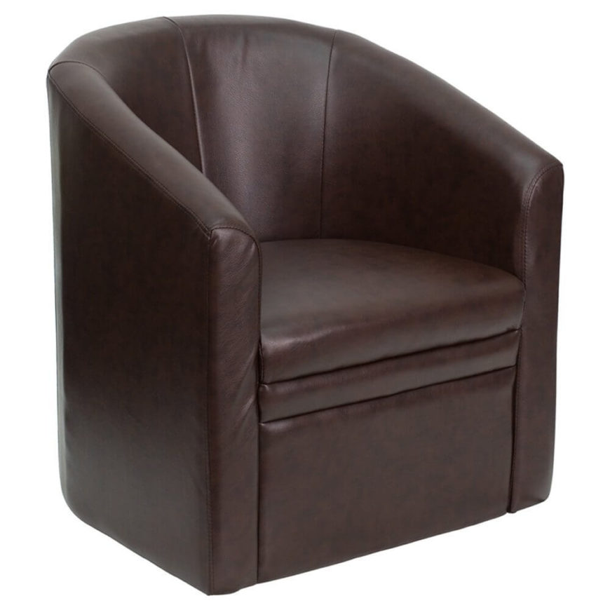 This curved club chair is the perfect seating option for a more mature, elegant man cave. Dark leather, classic shape, and ample cushioning make for a sturdy, stylish, and comfortable chair.