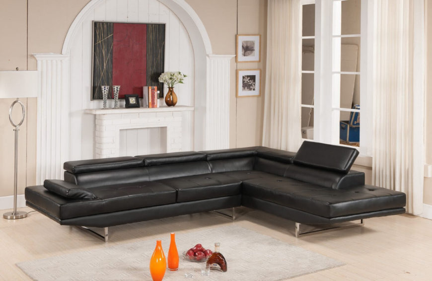 If you're looking for more seating space in a single set, the sectional is where you want to look. This modern example features hinged upper cushions for support, as well as a chaise lounge section for really stretching out.
