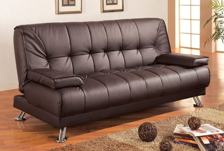 Going in a different direction, you might want to add an incredibly useful futon to your man cave. This versatile piece of furniture can be converted into a bed, while allowing all the seating of a normal sofa.