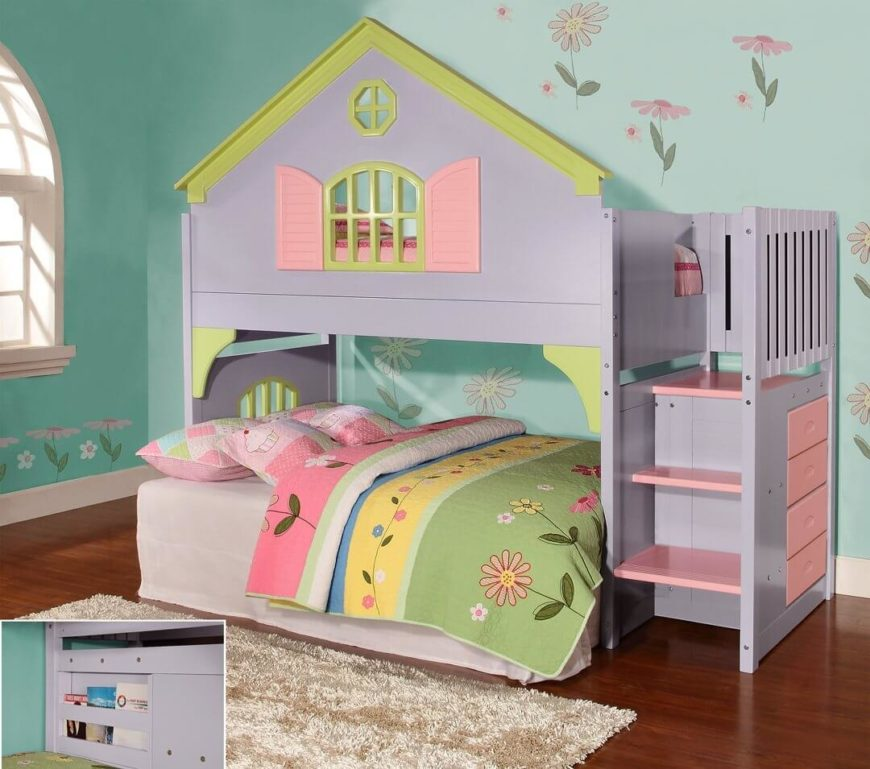 Here we have one of the more playful examples we discovered: a stair-equipped bunk bed in the style of a bright and colorful dollhouse, replete with pink and purple styling with yellow trim, plus a slim dresser built into the side.