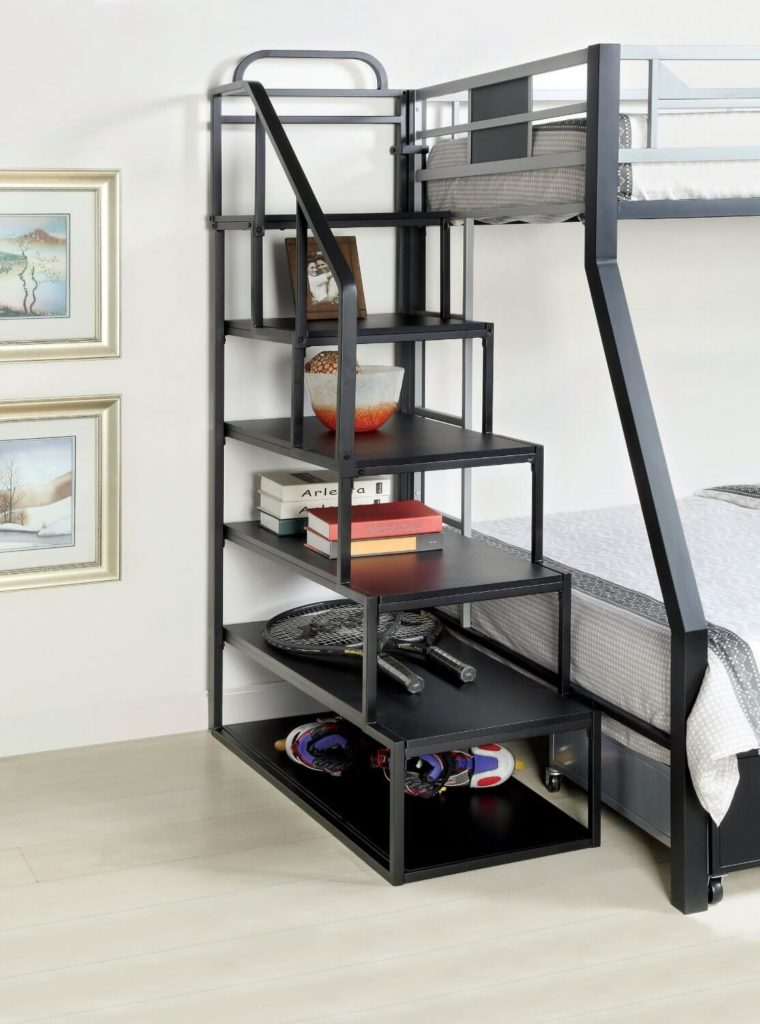 Here we have a unique piece: this is actually a stair frame meant to lock into a complementary metal framed bunk bed, alleviating the need for a ladder. This frame features shelving room for open storage beneath the large steps.