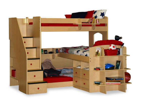 This natural wood framed bunk bed features a truly interesting design, with three bunks - the middle level is set perpendicularly, connecting to an elaborate dresser and shelving setup. Staircase at left features built-in drawers.