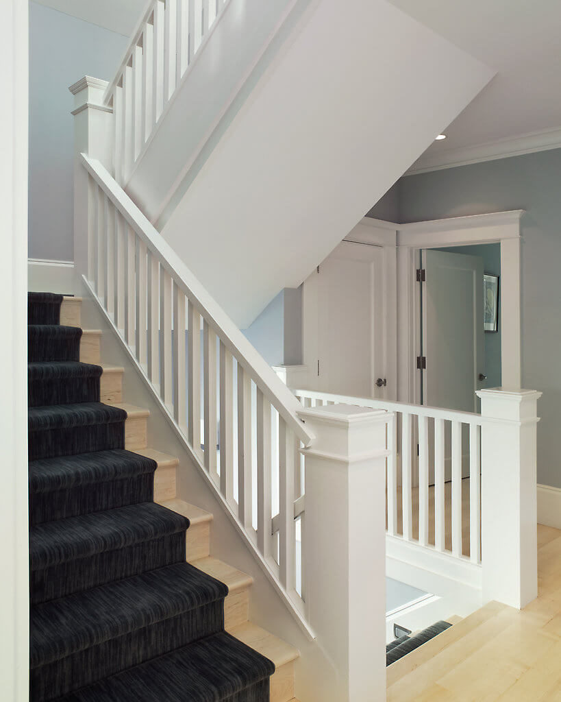 The clear-cut contrast between the stair carpeting and the wood not only gives the area a distinct aesthetic, but they make the staircase safer, too!