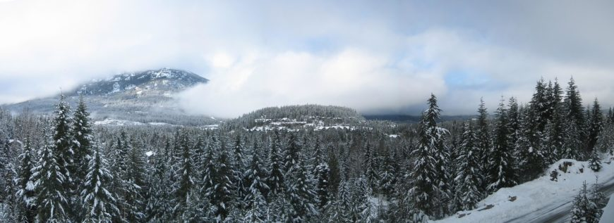 The same basic shot as the above image, this shows the landscape during the winter. Much of the mountains are obscured by thick clouds. Any buildings peeking out of the summer forest seem to disappear when the snows fall.