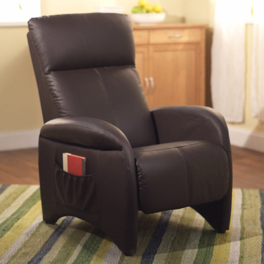 In contrast with our last model, this recliner features a sleek, minimalist design and slim profile that would fit anywhere. The pared down size leaves room for options like a side pocket for reading material.