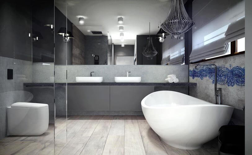 The primary bathroom is a thing of beauty, containing dual vessel sinks, a glass-enclosed shower, and a curved freestanding soaking tub.