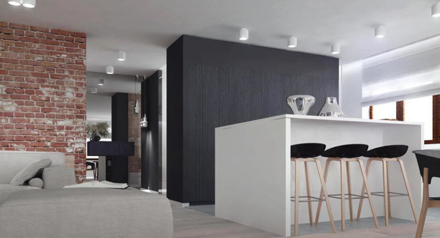 The minimalist nature of the kitchen allows it to fit perfectly into the open-concept space without overpowering the rest of the home. The design is light, clean, and simple.