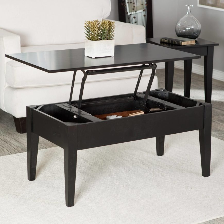 Coffee tables often come equipped with surprising functionality. The below model is an example of the storage table, replete with a hinged lift-off top that reveals an abundance of inner storage space.
