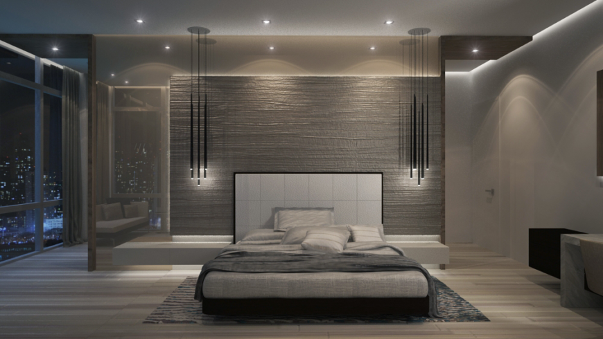 Amazing modern bedroom with cityscape view.