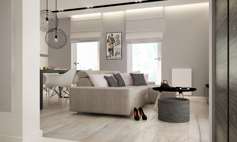 The hardwood flooring itself appears in a light, nearly gray tone, with wide planks and minimal gap for a sleek appearance. Subtle track lighting is embedded within the ceiling.