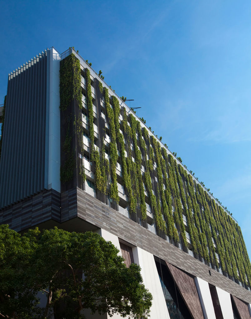 """Here's another fresh take on the living roof concept, with vertical strips running between balconies, fully adorned with rich green growth. The """"living facade"""" feature adds a warm glow to the modern structure, supplementing the living roof itself above."""