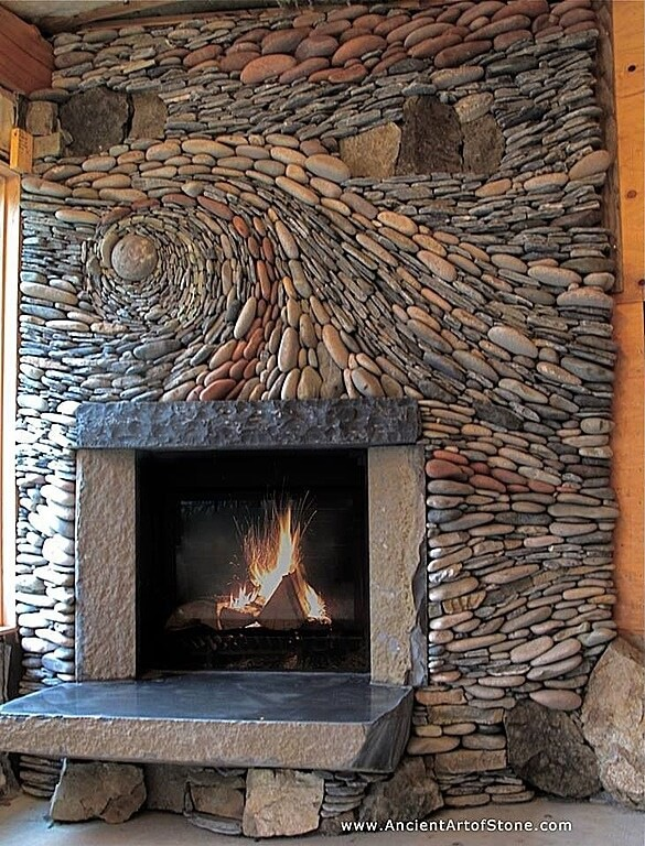 This incredible stone accent wall is hand-constructed in a swirling mosaic pattern reminiscent of Van Gogh's Starry Night.