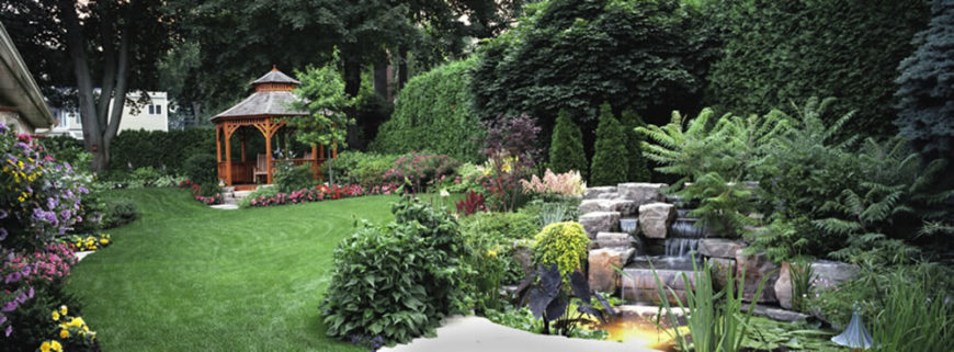 As we pull farther away from the gazebo, more of the garden is revealed. A stone waterfall, hugged by shrubbery, pours fresh water into a beautiful pond.
