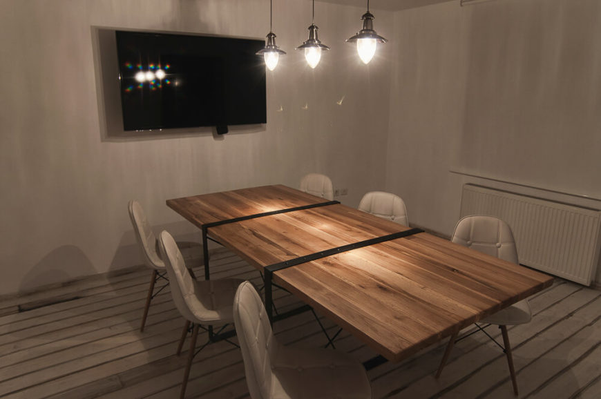 This conference room is built with the idea of video-conferencing in mind. Despite its traditional look, this room is complete with everything a modern company would need.