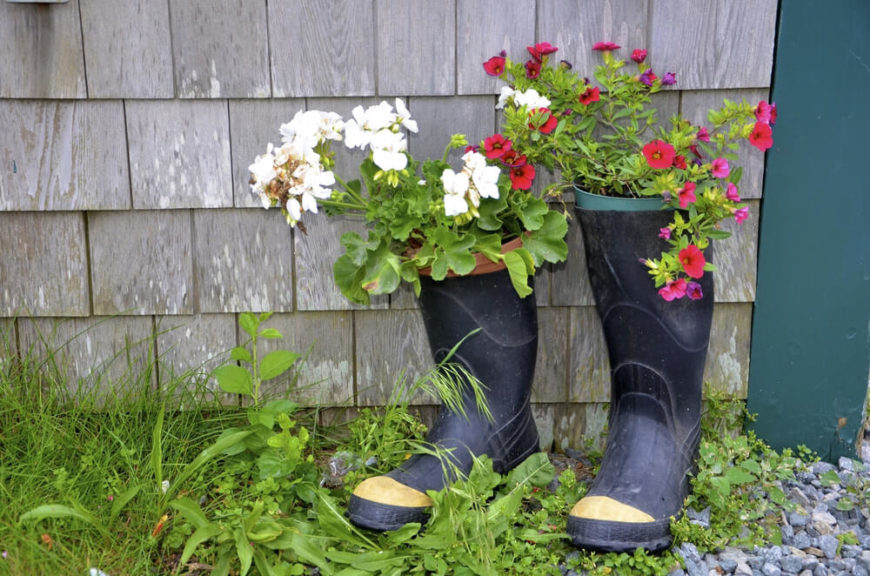 Altering the height of these galoshes adds visual interest while creating charming, portable planters that would look good anywhere.