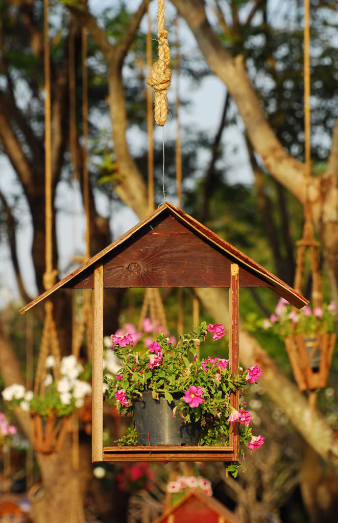 Reusing an old birdhouse as a hanging planter is a cute way to add vertical interest to a garden.