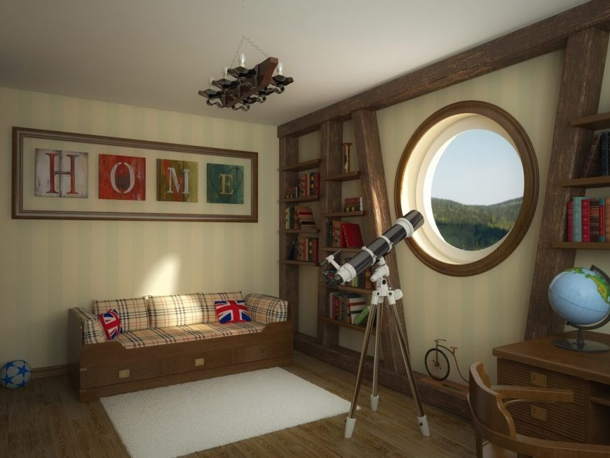 A lovely family room featuring natural wood accents and a large porthole.