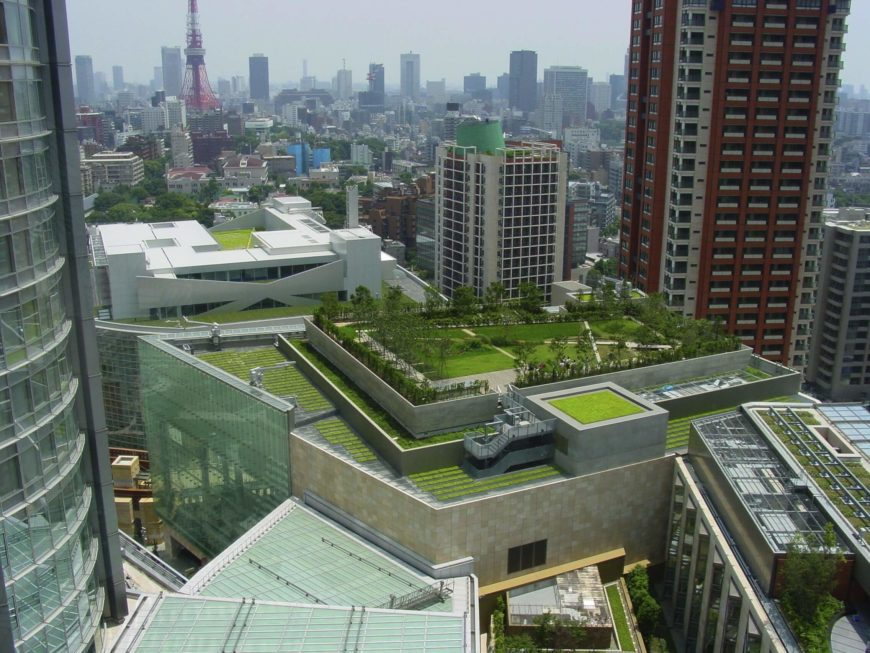 In the center of Tokyo's bustling metropolis, this sprawling rooftop park makes a case for the necessity of green rooftops in an urban environment. Standing apart from the concrete jungle, this living roof provides a sense of relief and escape into nature.