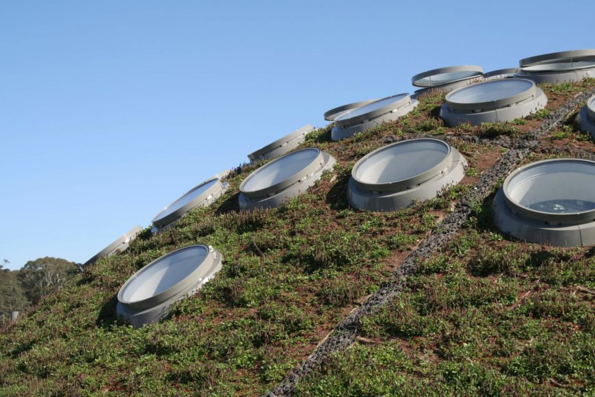 Inspired by Buckminster Fuller, this geodesic dome roof appears like a rolling green hill, dotted with circular skylights throughout. The combination of modern construction and natural grass makes for a strangely unique appeal.