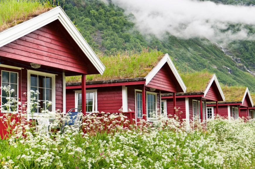 Much like our header image for this post, the series of cottages here are linked by their matching color schemes and equally appointed living roofs. The lush rooftop greenery connects the cottages to the landscape and provides insulation.