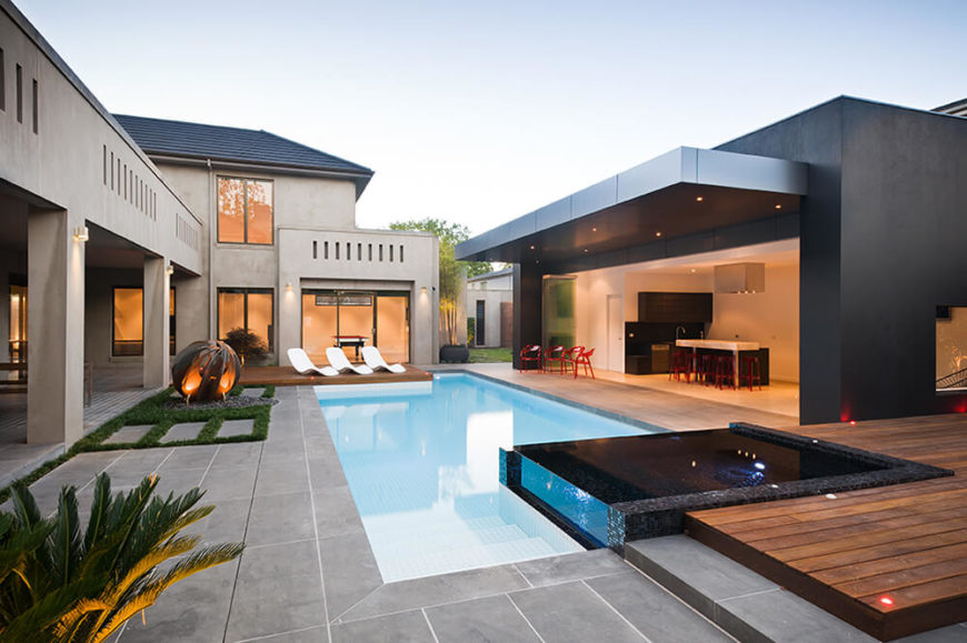 Ultra-modern home with connective courtyard, open plan design, and timeless appeal.