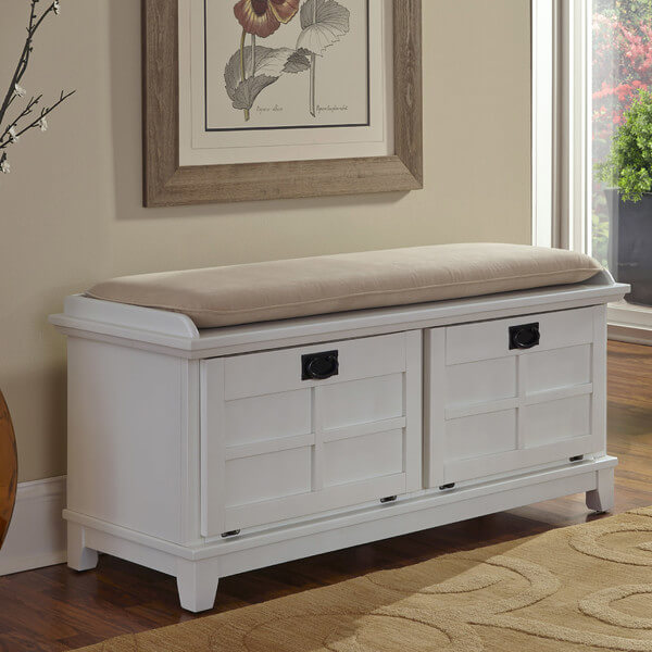 Front hall storage bench with cushioned top. Storage is made easy with pull-out drawers instead of a lifting seat.
