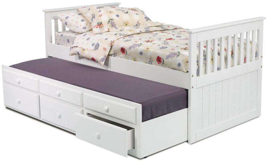 """The top three """"drawers"""" are fake, but the bottom three provide storage beneath the bottom mattress. When it's closed, it looks just like a regular storage bed!"""