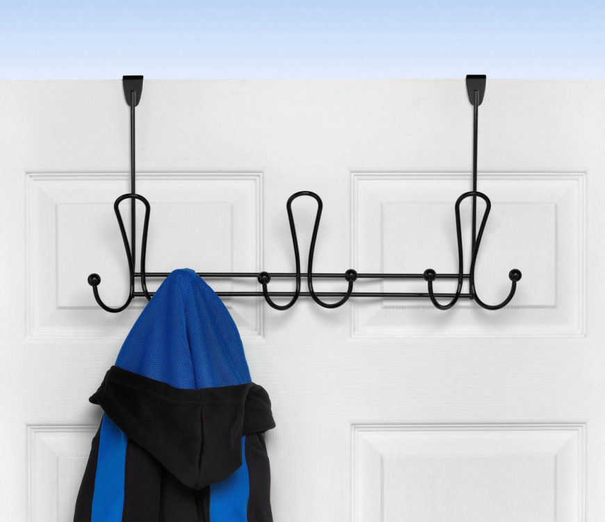 This storage option isn't visible from the other side, so it's perfect for a closet door, bathroom door, or even on the back of your bedroom door. And it has plenty of hooks where you can store a robe, jacket, or a purse.