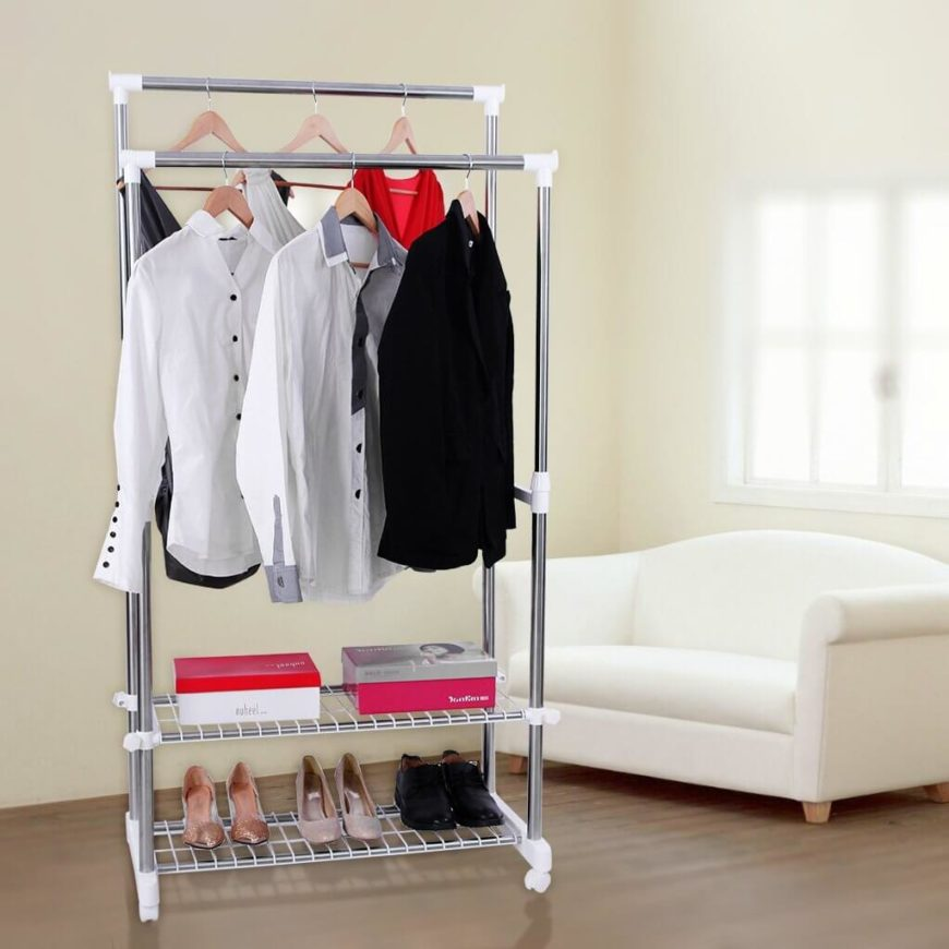 This option lacks a long rack for dresses, but you'll gain two shelves perfect for storing shoes. You could also use this to lay out your clothing for the next day, to save time getting dressed the next morning.