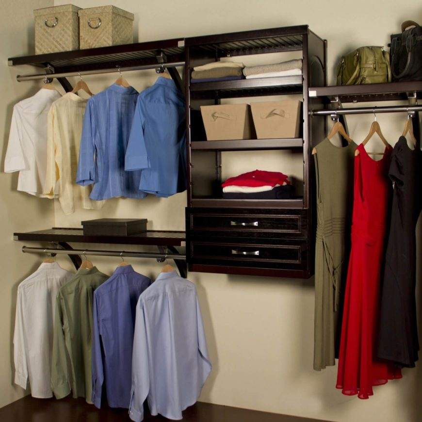 This deluxe closet organizer has plenty of sturdy racks, shelves, and a few drawers to store smaller pieces of clothing, like socks.