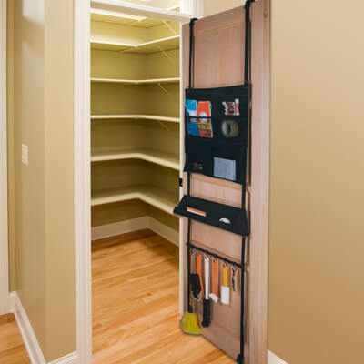 This lengthy over-the-door organizer has tons of pockets and hooks for you to store your items in. This organizer is perfect for a linen closet or a closet you store cleaning supplies in.