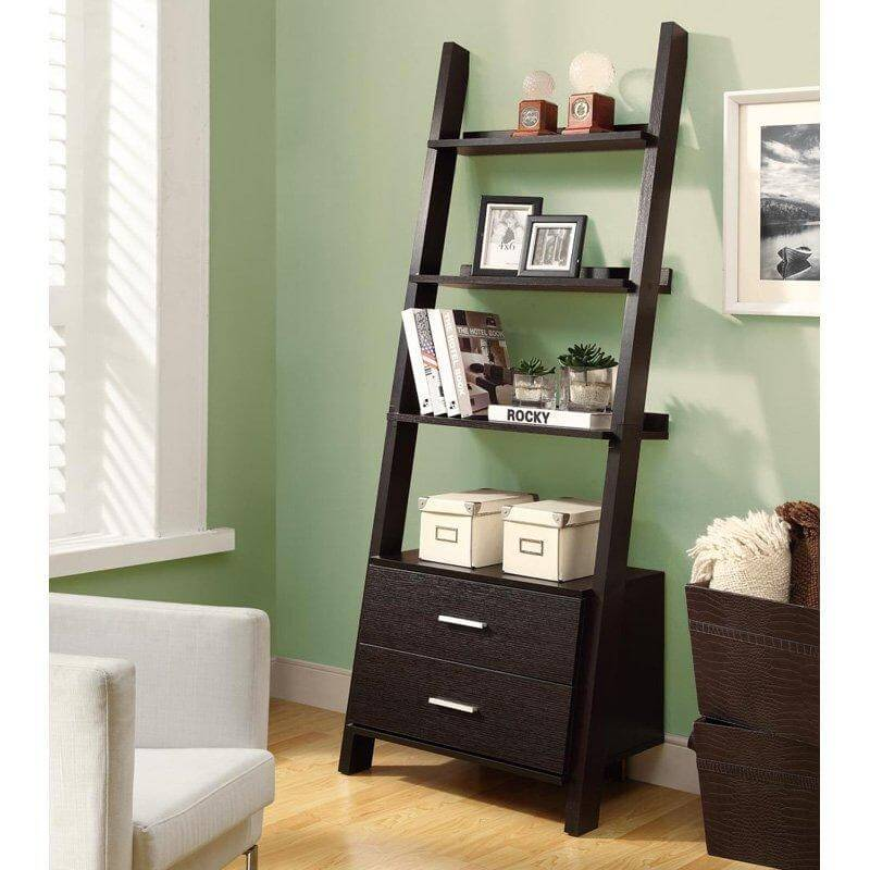 This ladder shelf features two drawers at the bottom, which would normally go unused, since they're so low.