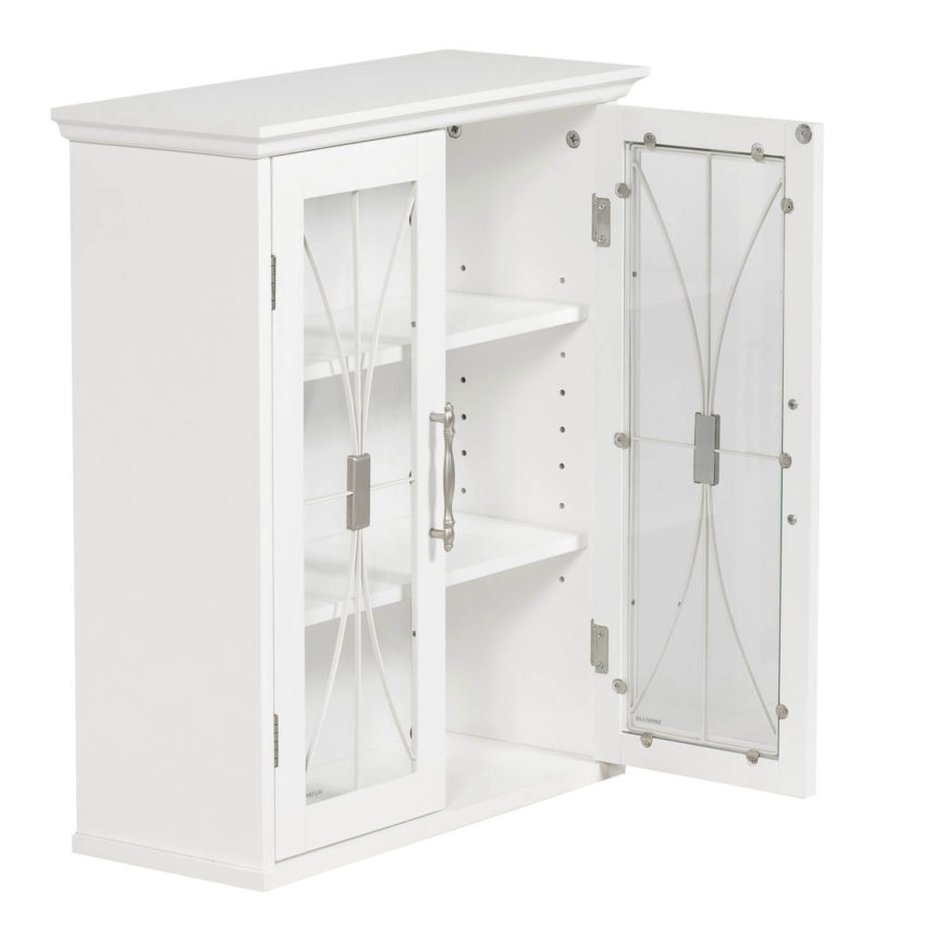 Glass-front doors with small embellishments dress up an otherwise simple medicine cabinet. You could also use this option as towel storage, or as storage above the toilet.