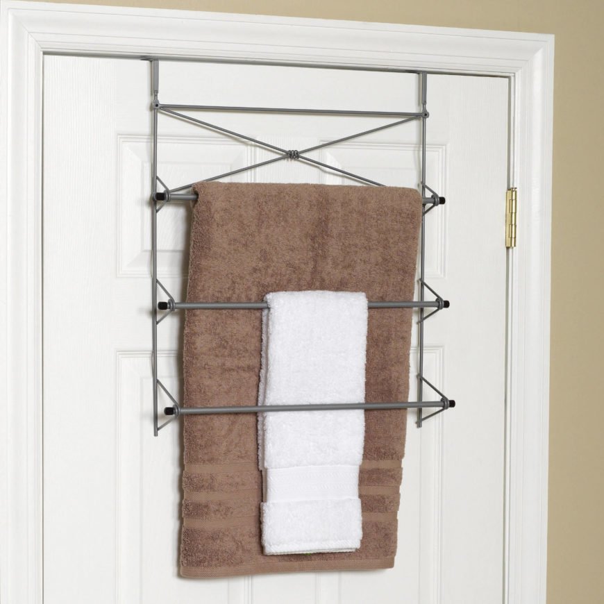 It's not visible from the other side, and provides you with 3 bars to hang your towels from.