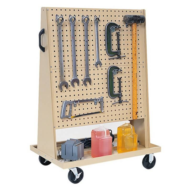 The wheels and handle allow you to pull your pegboard around the garage or outside.