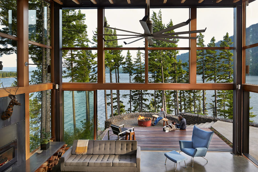 Here one can better see the jaw-dropping view of the lake and surrounding mountains. The designers' goal was to offer as much of this view from every available space.