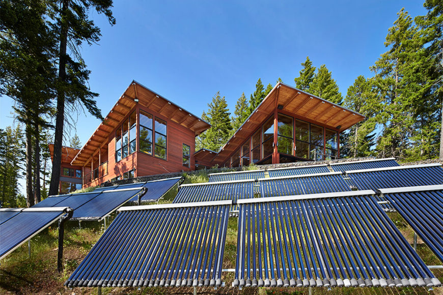 In a successful attempt to maintain an eco-friendly house passive solar-panels and solar hot water heaters were employed to keep energy costs down and better utilize the energy offered by nature.