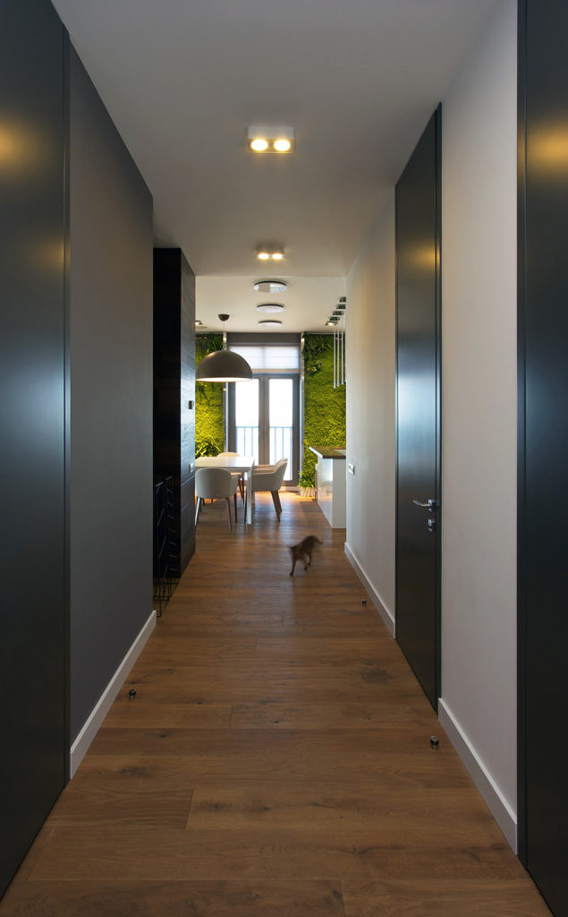 As we continue along the length of the hallway, we see the opening into the main living area of the home. Opposite sides of the hall are painted in different shades of gray, which contrast and complement the matte black doors.