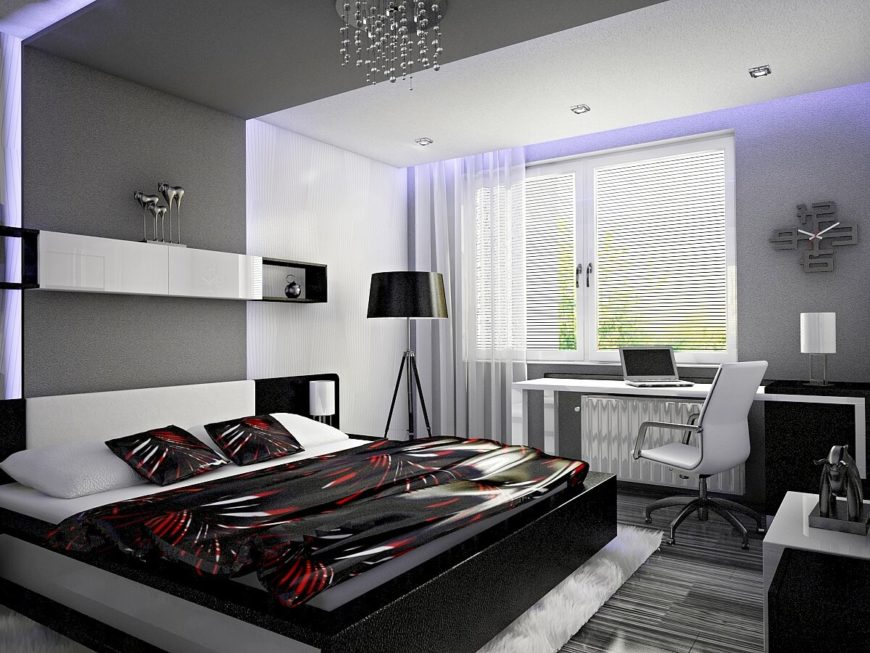 Before we enter the adjoining part of the suite, we take a final look back at the sleeping area and desk. Like the rest of the home, this room features white and black, but softens the contrast by including grays.