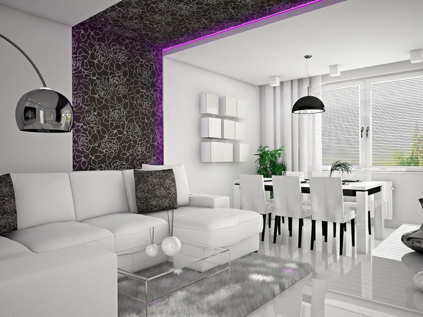 Taking a few steps back, we end up in the family room. A strip of floral wallpaper visually separates each distinct space, and a light purple LED strip adds further modernity. Matching throw pillows tie the living room to the wallpapered strip.