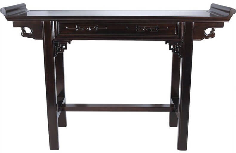 The elegance of this Chinese style table is not to be underestimated. Carved details are sure to catch the eye of your guests. A rim on either side of the table gives the top the appearance of a serving tray.