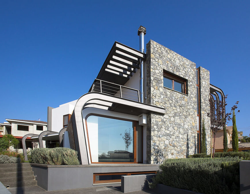 Modern Cyprus home with unique construction elements.