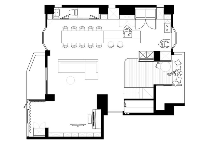 Here is the remodeled floor plan for the main floor and common areas.